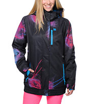 DC Riji Black Print 10K Girls 2014 Snowboard Jacket