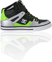 DC Shoes Spartan Hi WC Black, Silver & Lime Green Skate Shoe