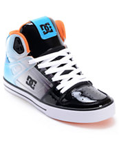 DC Spartan Hi Black, Turquoise & White Patent Leather Skate Shoe