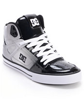 DC Spartan Hi Black Patent Leather & Grey Skate Shoe