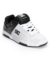 DC Stag White, Black & White Leather Skate Shoe