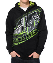 DC Whisky Throttle Black Zip Up Tech Fleece Hooded Jacket