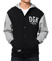 DGK Dropout Black & Grey Letterman Fleece Jacket
