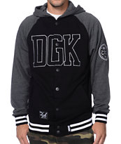 DGK Dugout Black & Charcoal Hooded Fleece Varsity Jacket