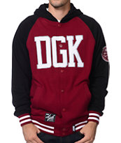 DGK Dugout Burgundy & Black Hooded Fleece Varsity Jacket