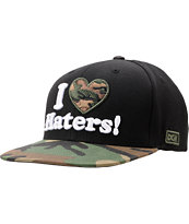 DGK I Love Haters Black & Woodland Camo Snapback Hat