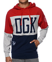 DGK MVP Jersey Red & Blue Hooded Shirt