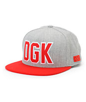DGK Rough Grey & Red Snapback Hat