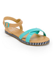 DV8 Valhalla Capri Teal & Tan Sandals