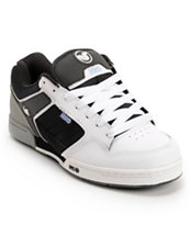 DVS Transom White, Black, & Grey Leather Skate Shoe