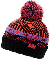 Dakine Girls Cora Black, Neon Orange, & Pink Pom Fold Beanie