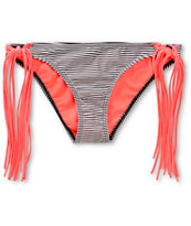 Damsel Coral Mini Stripe Fringe Tie Side Bikini Bottom
