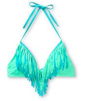 Damsel Jade & Mint Fringe Halter Bikini Top