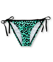 Damsel Leopard Print Mint Side Tie Bikini Bottom