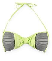 Damsel Lime Bow Mini Stripe Molded Cup Bikini Top
