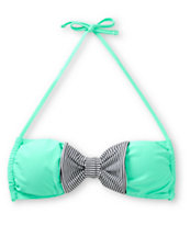 Damsel Mint & Mini Stripe Bow Bandeau Bikini Top