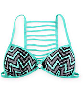 Damsel Paradox Chevron Ladder Back Molded Cup Bikini Top