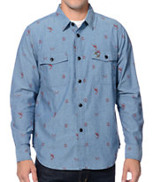 Dark Seas Flotilla Print Blue Long Sleeve Button Up Shirt