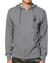 Deathwish Gang Logo Heather Grey Zip Up Hoodie