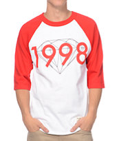 Diamond Supply Co 98 Brilliant Red & White Baseball Tee Shirt