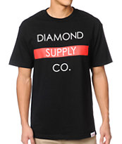 Diamond Supply Co Bar Logo Black & Red Tee Shirt