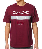 Diamond Supply Co Bar Logo Maroon & Grey Tee Shirt