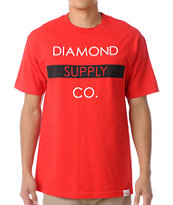 Diamond Supply Co Bar Logo Red Tee Shirt