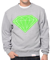 Diamond Supply Co Big Brilliant Grey & Lime Crew Neck Sweatshirt