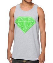 Diamond Supply Co Big Brilliant Heather Grey & Lime Tank Top