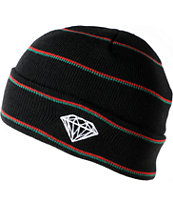 Diamond Supply Co Black, Red & Green Striped Fold Beanie