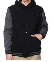 Diamond Supply Co Black & Grey Hooded Fleece Varsity Jacket