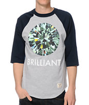 Diamond Supply Co Brilliant Grey Baseball Tee Shirt