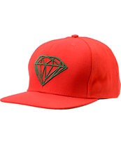 Diamond Supply Co Brilliant Red & Green Snapback Hat