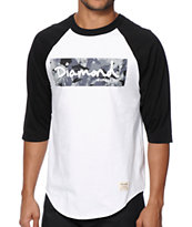 Diamond Supply Co Camo Box Logo Baseball T-Shirt