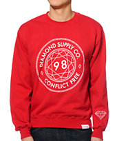 Diamond Supply Co Conflict Free Red Crew Neck Sweatshirt