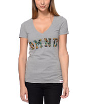 Diamond Supply Co DMND Camo Grey V-Neck Tee Shirt