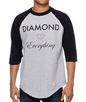 Diamond Supply Co Diamond Everything Heather Grey & Black Baseball Tee