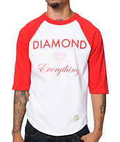 Diamond Supply Co Diamond Everything White & Red Baseball Tee