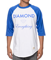 Diamond Supply Co Diamond Everything White & Royal Blue Baseball Tee
