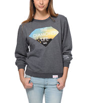 Diamond Supply Co Diamond Life NYC Charcoal Crew Neck Sweatshirt
