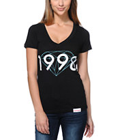 Diamond Supply Co Girls 98 Brilliant Black V-Neck Tee Shirt