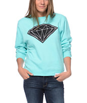 Diamond Supply Co Girls Big Brilliant Mint Crew Neck Sweatshirt