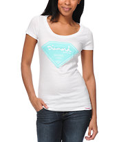 Diamond Supply Co Girls Certified Lifer White Scoop Neck Tee Shirt