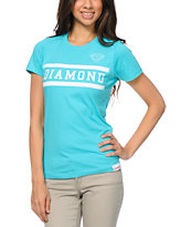 Diamond Supply Co Girls Collegiate Turquoise Tee Shirt