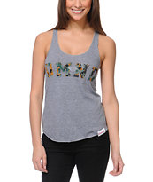 Diamond Supply Co Girls DMND Camo Print Heather Grey Tank Top