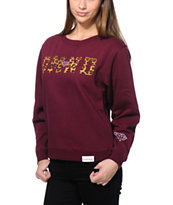 Diamond Supply Co Girls DMND Leopard Dark Red Crew Neck Sweatshirt