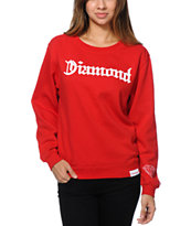 Diamond Supply Co Girls Diamond 4 Life Red Crew Neck Sweatshirt