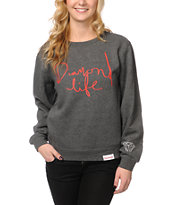 Diamond Supply Co Girls Diamond Life Charcoal Crew Neck Sweatshirt