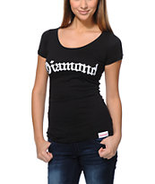 Diamond Supply Co Girls Diamond4Life Black Scoop Neck Tee Shirt