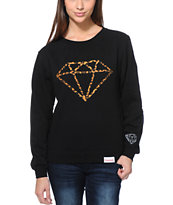 Diamond Supply Co Girls Leopard Rock Black Crew Neck Sweatshirt